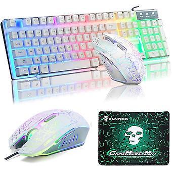 Wokex Keyboard Mouse Sets, T16 Wired Gaming Keyboard Rainbow Backlit Ergonomic USB Keyboard +