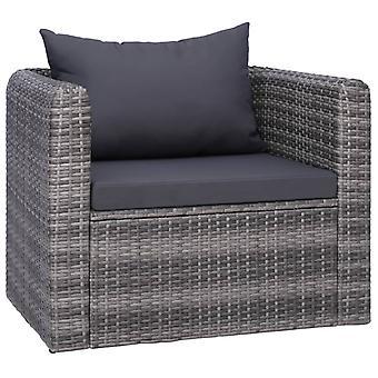 vidaXL puutarhatuoli verhoilulla ja tyynyllä Poly Rattan Grey