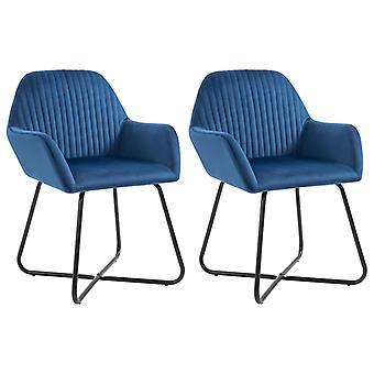 vidaXL dining chairs 2 pcs. blue velvet