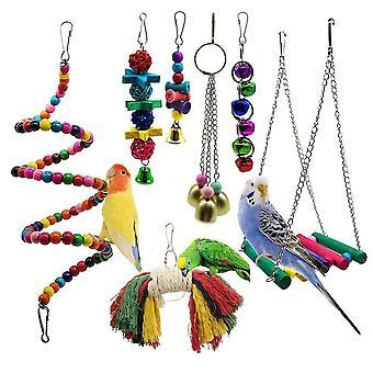 Giocattoli per pappagalli 7pc e accessori per uccelli per pet toy budgie parakeet cage grigio africano| Giocattoli per uccelli