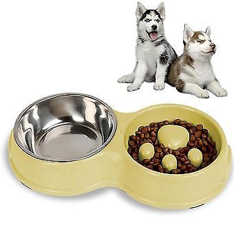 Slow Food Anti-choke Stainless Steel Double Bowl Pet Non-slip Cat Food Bowl (Verde)