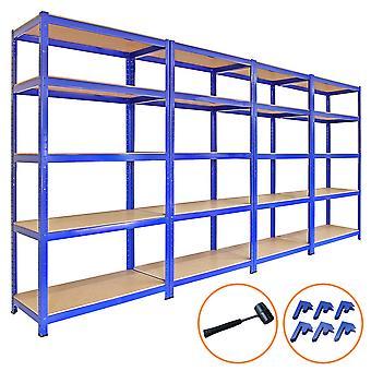 Monster Racking - 4 Estanterías T-Rax de Acero Sin Tornillos Azules 90cm x 45cm x 180cm