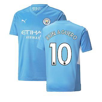 2021-2022 Man City Home Shirt (Kids) (KUN AGUERO 10)