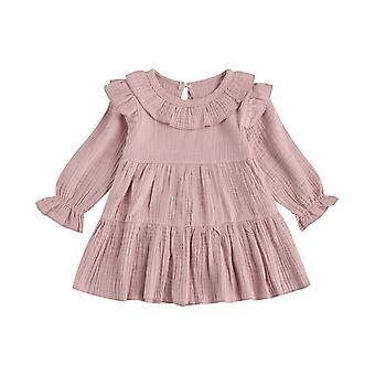 Kleinkind Baby Kleid Casual R Solide Rüschen A Line Kleid Süßes Kleid