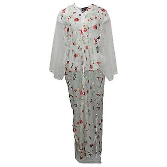 Colleen Lopez Women's Top Embroidered Mesh Duster Cardigan White 648168