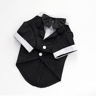 Dog apparel gentleman dogs cat costume suit tuxedo formal black bow tie party wedding dress apparel jacket
