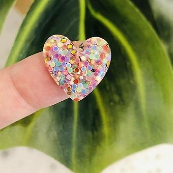 Shiny Heart-shaped Colorful Sequins Shoes Charms