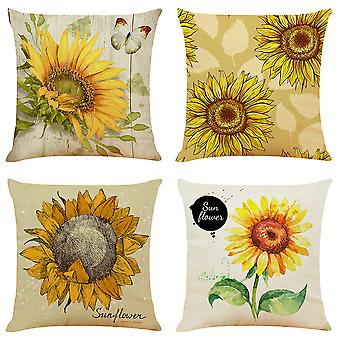 Mile Set Of 4 Vintage Sunflower Cushion Cover Cotton Linen Throw Pillow Case Decorative Sofa Square Pillowcase18 X 18 Inch With Invisible Zipper