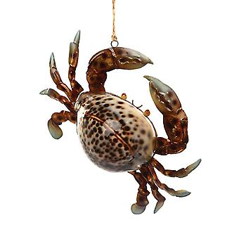Crab Natural Cowry Shell Christmas Holiday Ornament 5.75 Inches