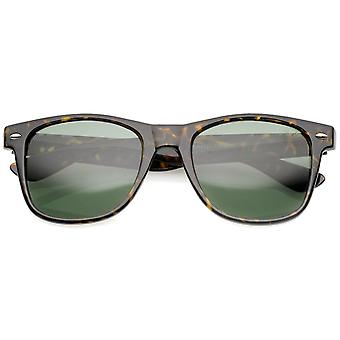 Retro Wide Temples Glass Lens Horn Rimmed Sunglasses 55mm