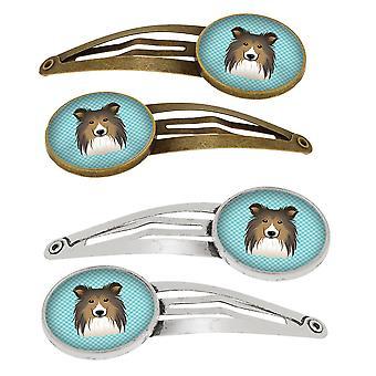 Dambord blauwe Sheltie Set van 4 haarspeldjes Hair Clips