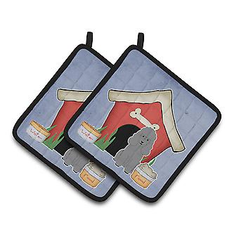 Dog House Collection Poodle Silver Pair of Pot Holders