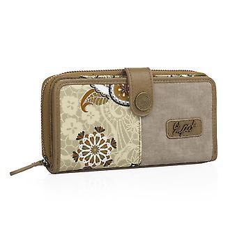 Wallet card houder vrouwen, druk, sluiten handvat en rits. Capaciteit 10 kaarten/documentatie en 2 voor tickets. 19X9cm 92118