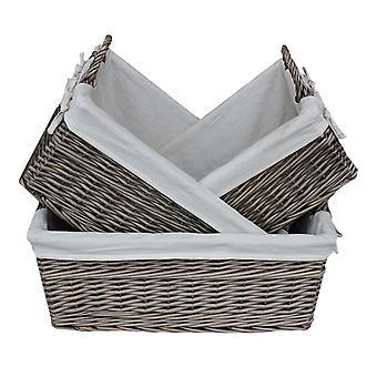 Flache gefütterte Antik Wash Lagerung Wicker Korb 3er-Set