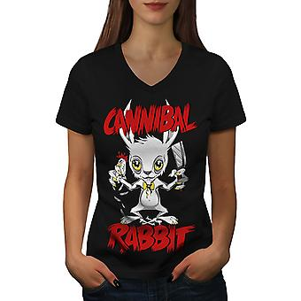 Cannibal Women BlackV-Neck T-shirt | Wellcoda