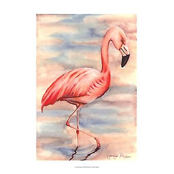 Pink Flamingo I Poster Print by Jennifer Goldberger (13 x 19)
