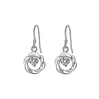 Silver och vit zirkon smycken cirkel krans hänge örhängen kristall stenar
