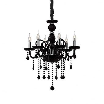 Ideal Lux Giudecca Shabby Chic Black 6 Light Hanging Ceiling Pendant