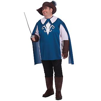 Musketeer Medieval French Cavalier Legend Renaissance Mens Costume Plus 2X