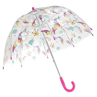 X-Brella Childrens/Kids Transparent Unicorn And Rainbow Themed Stick Umbrella