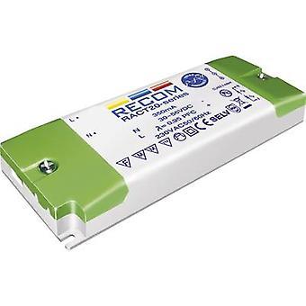Recom Lighting RACT20-1050 LED driver Constant stroom 20 W 1.05 A 12 - 18 V DC dimbaar, PFC circuit, Surge bescherming, Goedgekeurd voor gebruik op meubels