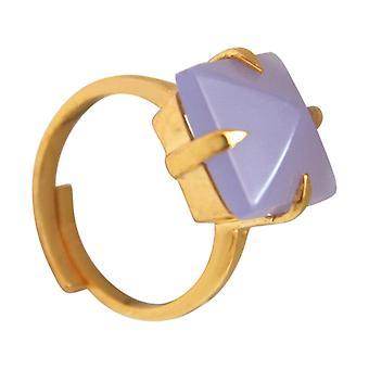 Gemshine ring 925 forsølvet Chalcedonlavendel lilla størrelse justerbar