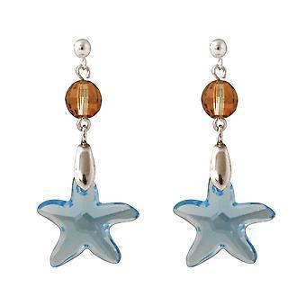 Orecchini Gemshine 925 Silver Star Blue MADE WITH SWAROVSKI ELEMENTS®