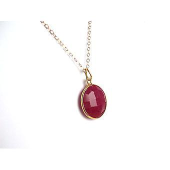 روبي الأحمر الأحجار الكريمة قلادة مطلية بالذهب قلادة روبي