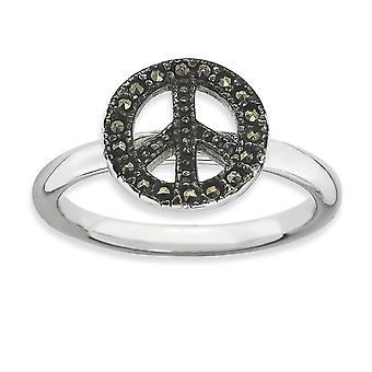 2.25mm 925 Sterling Silver Polished Rhodium plated Stackable Expressions Marcasite Peace Sign Ring Jewelry Gifts for Wom