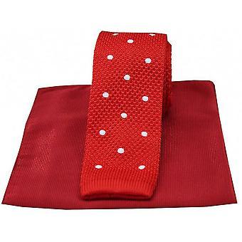 David Van Hagen oppdaget tynn strikket silke slips og ribbet lommetørkle sett - rød/hvit