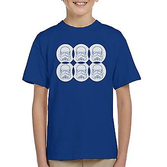 Original Stormtrooper Line Art Helmet Circles Kid's T-Shirt