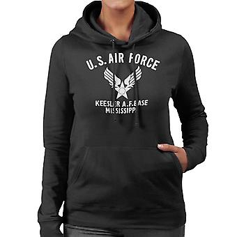 US Airforce Keesler AF Base Mississippi White Text Women's Hooded Sweatshirt