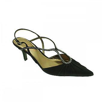 Magrit Black Satin Sling Back Low Heel Shoe