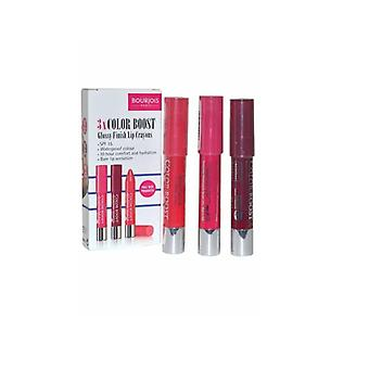 Bourjois 3x Color Boost Glossy Finish Lip Crayons, Waterproof