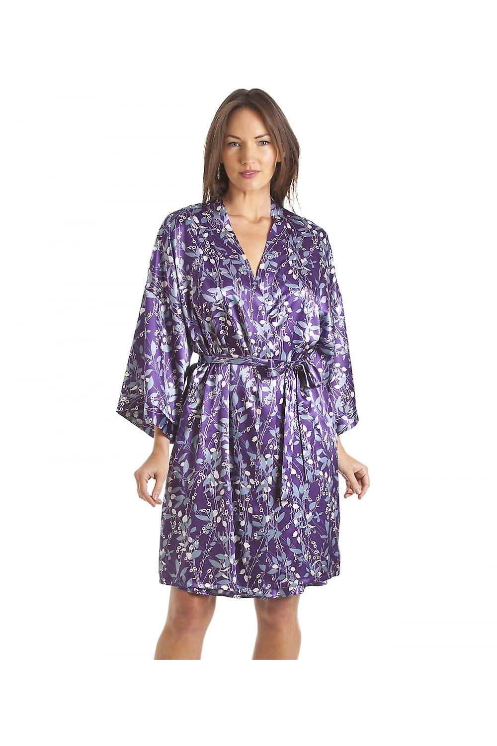 Camille Luxury White And Blue Floral Print Purple Satin Wrap