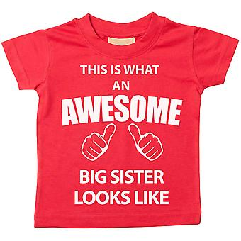 This is What An Awesome Big Sister Looks Like Red Tshirt