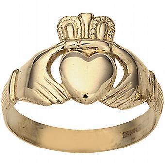 9ct Gold 11x22m gents Claddagh Ring Size U
