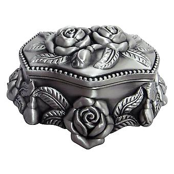 Beautiful Pewter Plated Metal Heart Trinket Jewellery Chest with Rose Decoration