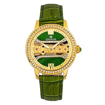 Empress Rania Mechanical Semi-Skeleton Leather-Band Watch - Green