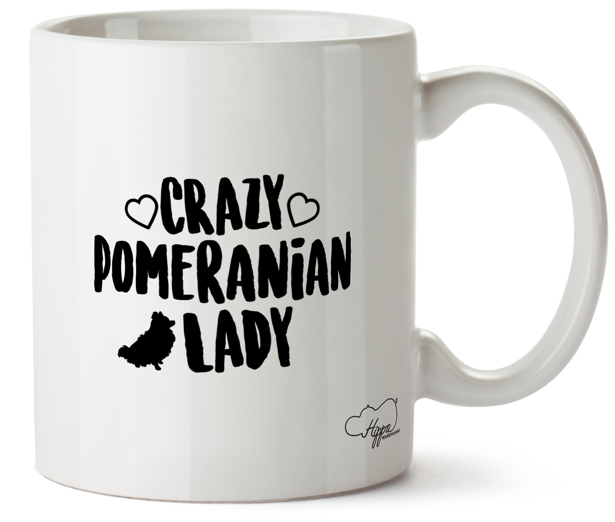 Hippowarehouse Crazy Pomeranian Lady Dog Printed Mug Cup Ceramic 10oz