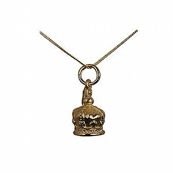 תליון כתר מלכותי 12x10mm זהב עם שרשרת לרסן 20 אינצ'ים