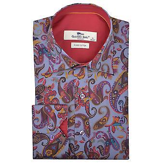 قميص رجالي طباعة الأرجواني كلاوديو لوجلي بيزلي