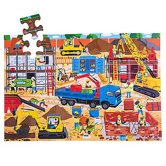 Bigjigs Toys Children's Wooden Construction Site Floor Jigsaw Puzzle (48 Piece)