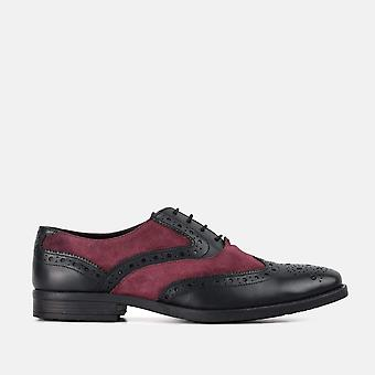Thompson black & bordo leather gatsby brogue