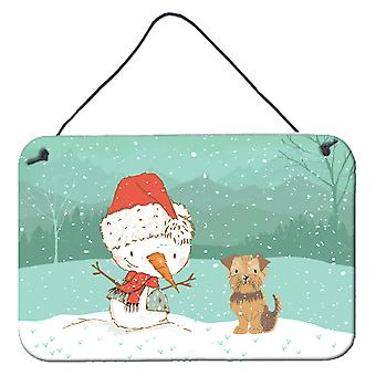 Yorkie Natural Ears Snowman Christmas Wall or Door Hanging Prints