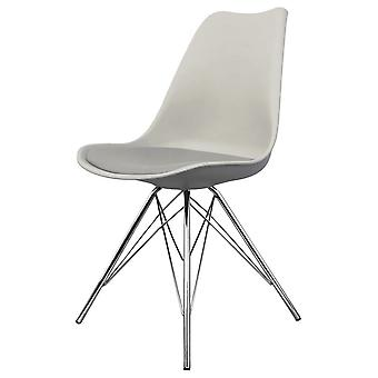 Fusion Living Eiffel Inspired Light Grey Plastic Dining Chair With Chrome Metal Legs