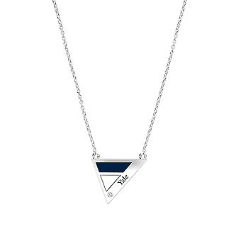 Yale University Engraved Sterling Silver Diamond Geometric Necklace In Blue & White