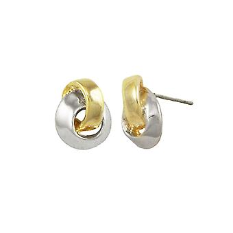 Eternal Collection Ribbon Two Tone Gold Stud Pierced Earrings