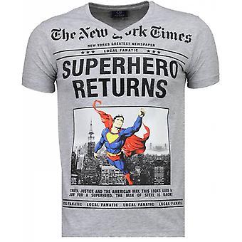 SuperHero Returns-T-paita-harmaa