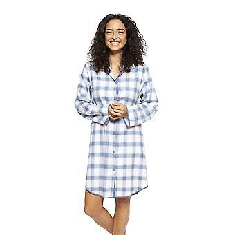 Cyberjammies 4242 Frauen's Harper Blue Mix Check Baumwolle Nachthemd